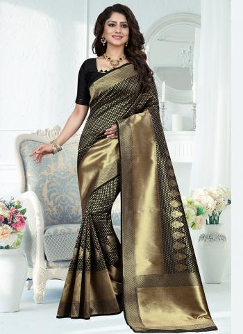 Traditional Wear Black Weaving Banarasi Silk Saree