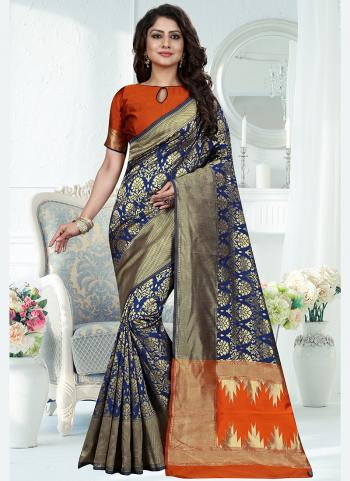 Traditional Wear Blue Weaving Banarasi Silk Saree