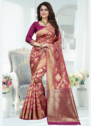 Traditional Wear Pink Weaving Banarasi Silk Saree