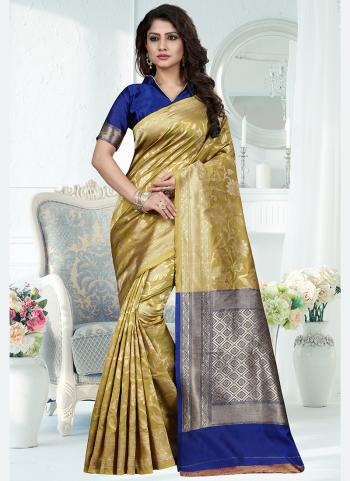 Traditional Wear Yellow Weaving Banarasi Silk Saree
