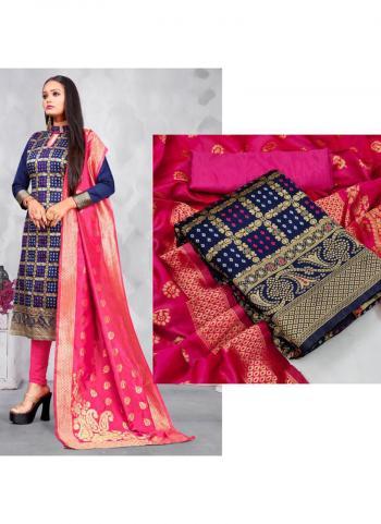 Casual Wear Navy blue Weaving Banarasi Silk Dress Material