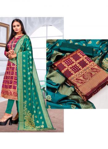 Casual Wear Wine Weaving Banarasi Silk Dress Material