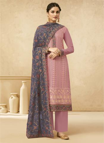Festival Wear Light Pink Embroidery Work Georgette Palazzo Suit
