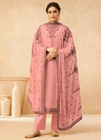 Festival Wear Pink Embroidery Work Georgette Palazzo Suit