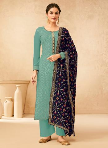 Festival Wear Teal Blue Embroidery Work Georgette Palazzo Suit