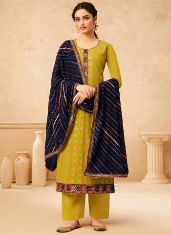 Festival Wear Yellow Embroidery Work Georgette Palazzo Suit