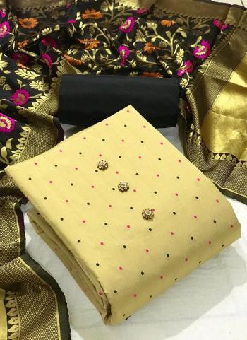 Festival Wear Black Butti Work Silk Dress Material