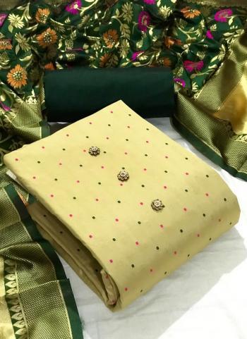 Festival Wear Green Butti Work Silk Dress Material