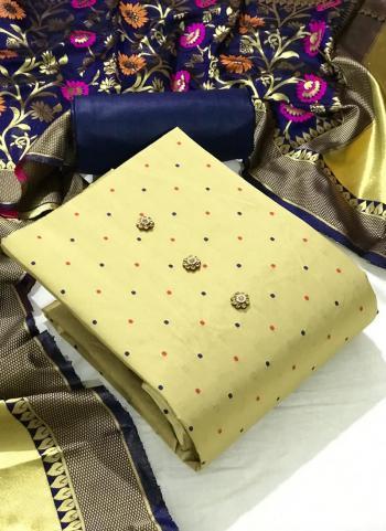 Festival Wear Navy blue Butti Work Silk Dress Material