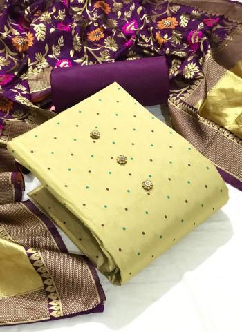 Festival Wear Purple Butti Work Silk Dress Material