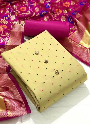 Festival Wear Rani Butti Work Silk Dress Material