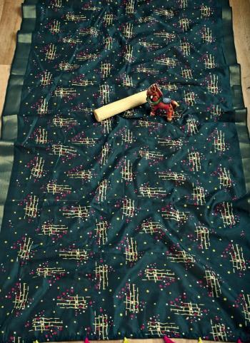 Casual Wear Rama Weaving Soft Cotton Saree
