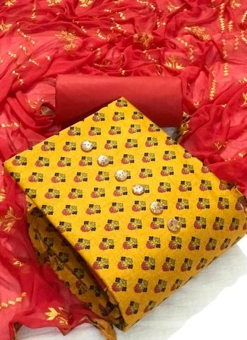 Casual Wear Yellow Printed Work Cotton Dress Material