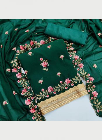 Festival Wear Green Multi Work Georgette Dress Material