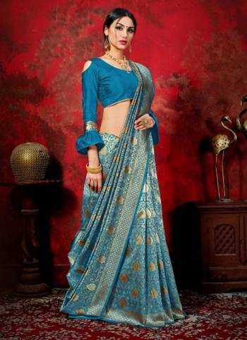 Festival Wear Sky Blue Weaving Banarasi Silk Saree