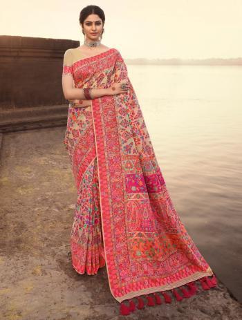 Wedding Wear Beige Weaving Banarasi Silk Saree