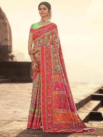 Wedding Wear Light Green Weaving Banarasi Silk Saree