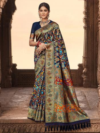Wedding Wear Navy blue Weaving Banarasi Silk Saree