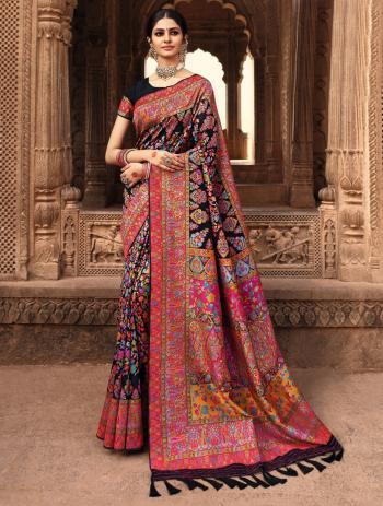 Wedding Wear Rani Weaving Banarasi Silk Saree