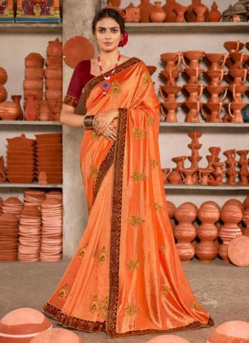 Festival Wear Orange Embroidery Work Vichitra Silk Saree