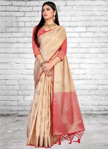 Traditional Wear Cream Weaving Silk Saree