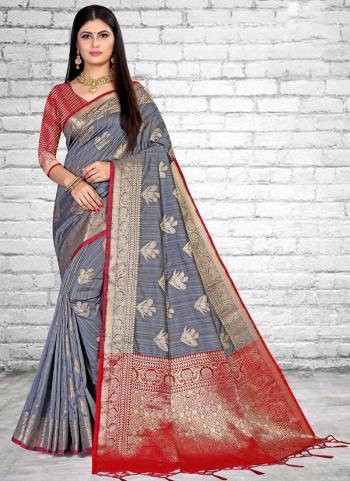 Traditional Wear Grey Weaving Silk Saree