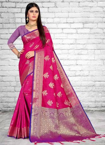 Traditional Wear Pink Weaving Silk Saree