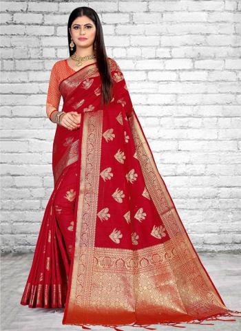 Traditional Wear Red Weaving Silk Saree