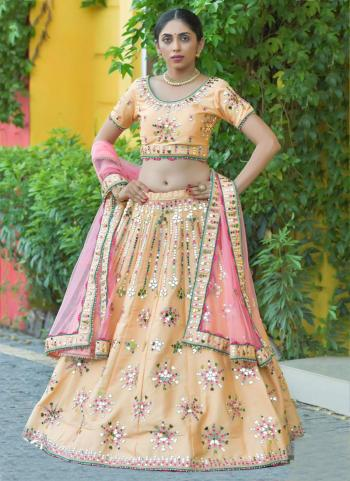 Wedding Wear Golden Resham Work Silk Lehenga Choli