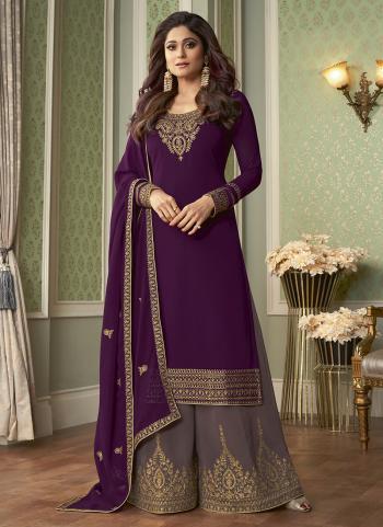 Wedding Wear Purple Embroidery Work Georgette Palazzo Suit