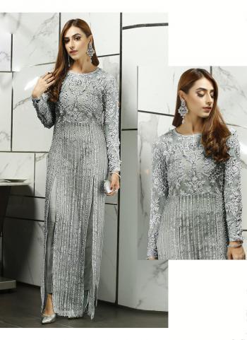 Party Wear Grey Embroidery Work Net Pakistani Suit