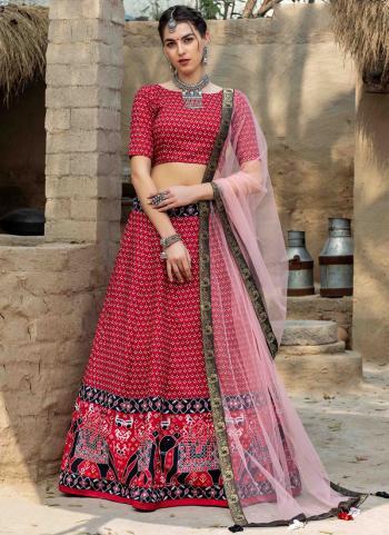 Party Wear Red Printed Work Art Silk Lehenga Choli