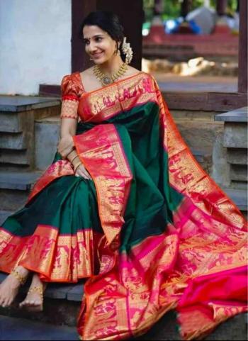 Party Wear Green Weaving Soft Silk Saree