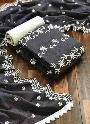 Casual Wear Black Resham Work Fancy Dress Material