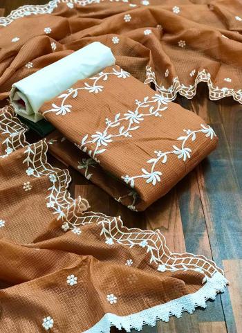 Casual Wear Brown Resham Work Fancy Dress Material