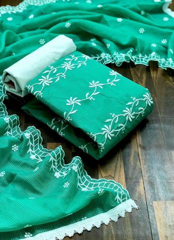 Casual Wear Green Resham Work Fancy Dress Material