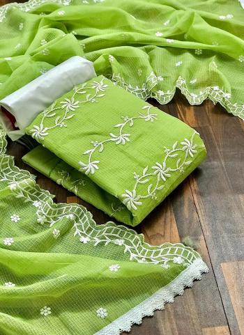 Casual Wear Light Green Resham Work Fancy Dress Material