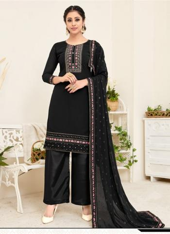 Festival Wear Black Embroidery Work Georgette Palazzo Suit