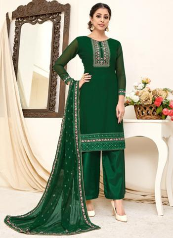 Festival Wear Green Embroidery Work Georgette Palazzo Suit