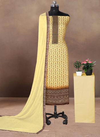 Regular Wear Peach Printed Work Cotton Satin Dress Material