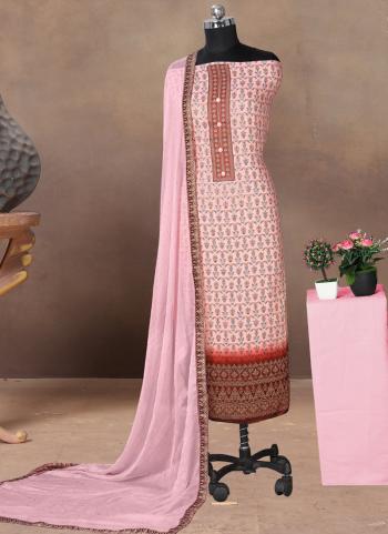 Regular Wear Pink Printed Work Cotton Satin Dress Material