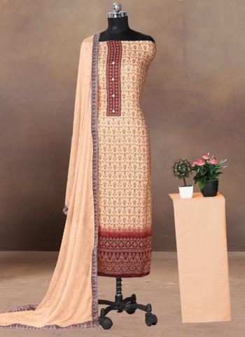 Regular Wear Yellow Printed Work Cotton Satin Dress Material