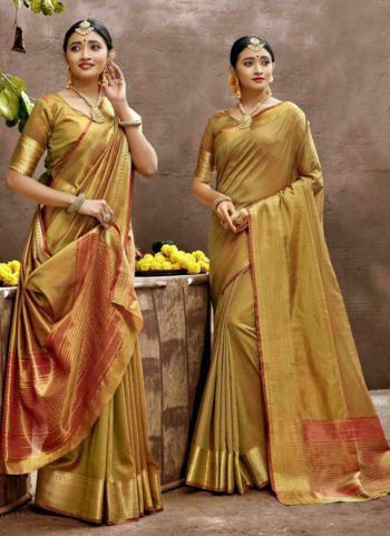 Festival Wear Gold Weaving Art Silk Saree