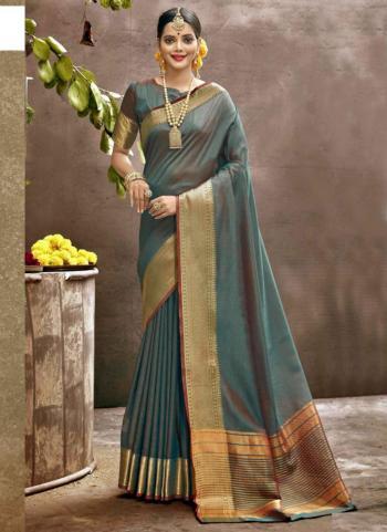 Festival Wear Grey Weaving Art Silk Saree