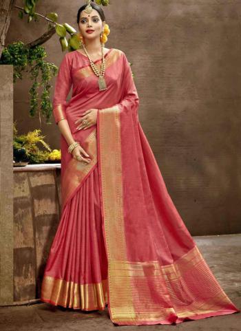 Festival Wear Pink Weaving Art Silk Saree