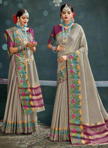 Traditional Wear Grey Weaving Cotton Silk Saree