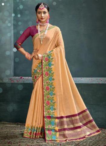 Traditional Wear Peach Weaving Cotton Silk Saree