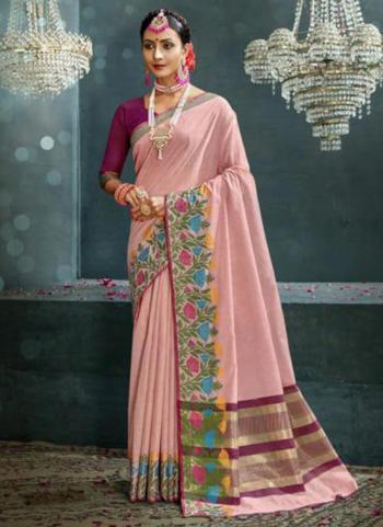 Traditional Wear Pink Weaving Cotton Silk Saree