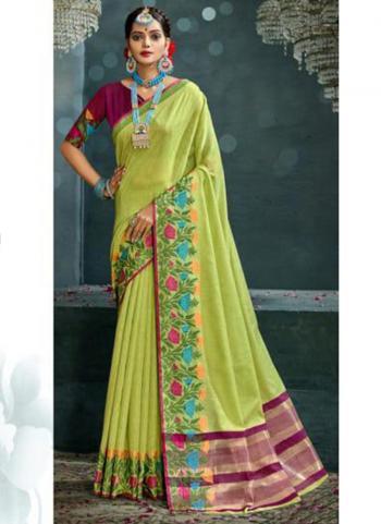 Traditional Wear Sea Green Weaving Cotton Silk Saree