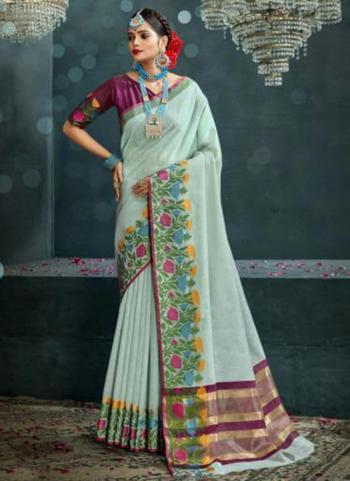 Traditional Wear Sky Blue Weaving Cotton Silk Saree